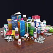Botella de medicina y píldoras y paquete de caja modelo 3d