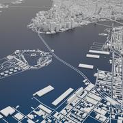 New York City Skyline Map terrain relief 3d model