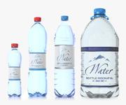 PET Flaschen Pack. Enthält 50 cl, zwei Versionen von 1,5 l und eine 6 l 3d model