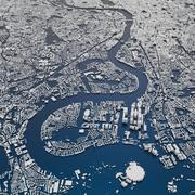 London City  and Suburbs Skyline Cityscape Map terrain relief 3d model