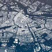 Amsterdam  City and Suburbs Skyline Cityscape Map terrain relief 3d model