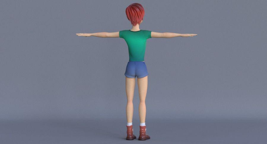 Genç kız çizgi film royalty-free 3d model - Preview no. 7