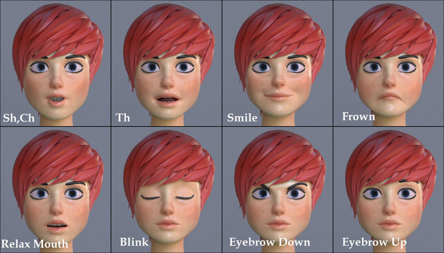 Genç kız çizgi film royalty-free 3d model - Preview no. 13