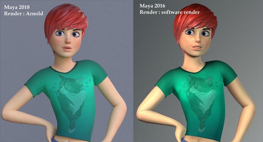 Genç kız çizgi film royalty-free 3d model - Preview no. 18