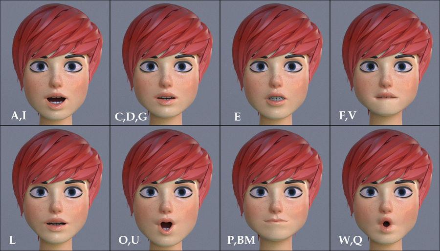 Genç kız çizgi film royalty-free 3d model - Preview no. 12