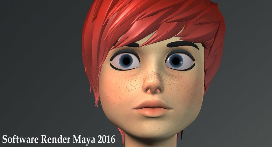 Genç kız çizgi film royalty-free 3d model - Preview no. 16