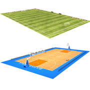 Soccer Field and Basketball Court 3d model