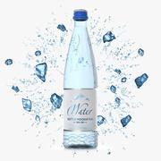Glasflasche 50 cl mit Wasser und Eis 3d model