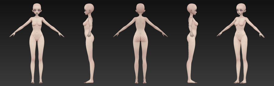 Anime Girl BaseMesh royalty-free modelo 3d - Preview no. 3