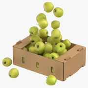 Cardboard Box 01 With Golden Delicious Apple Flying 3d model