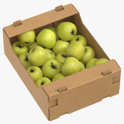 Cardboard Box 03 With Golden Delicious Apple Full 3d model