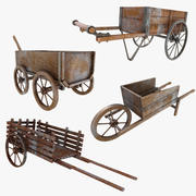 Wooden Cart (Old) Collection 3d model