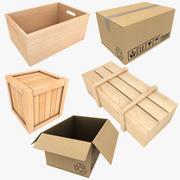 Ahşap kutu ve karton koleksiyonu 3d model
