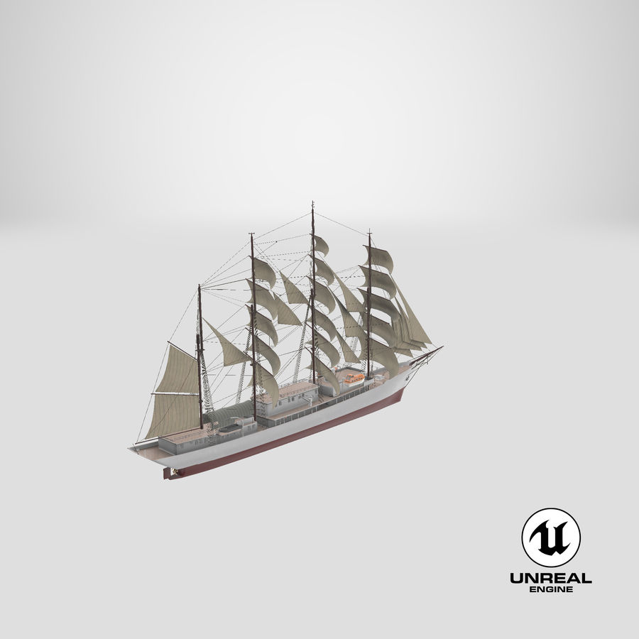 帆船快船 royalty-free 3d model - Preview no. 36