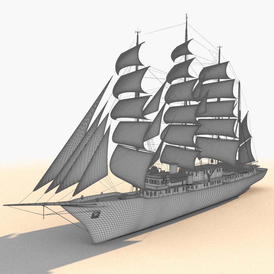 帆船快船 royalty-free 3d model - Preview no. 28