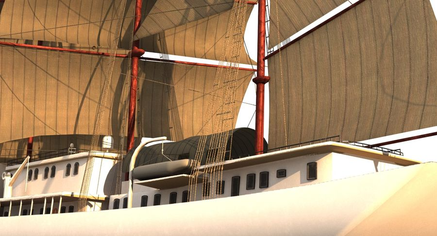 帆船快船 royalty-free 3d model - Preview no. 18