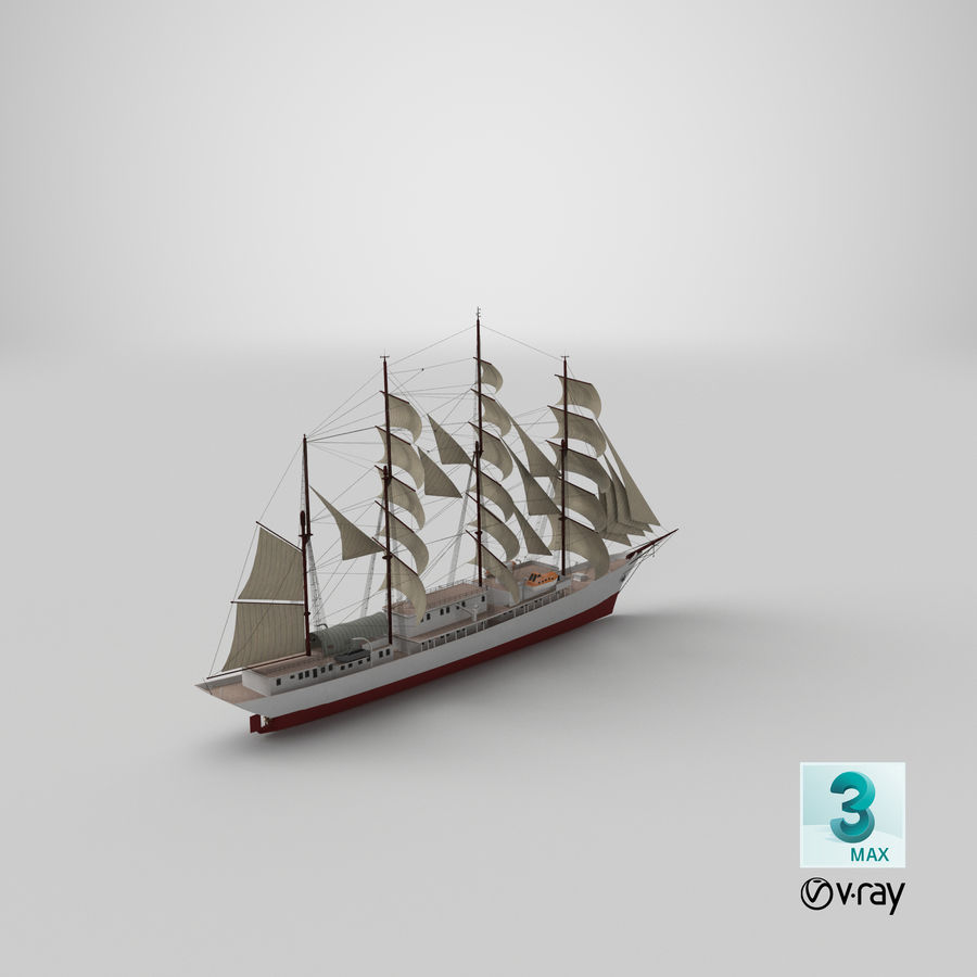帆船快船 royalty-free 3d model - Preview no. 38