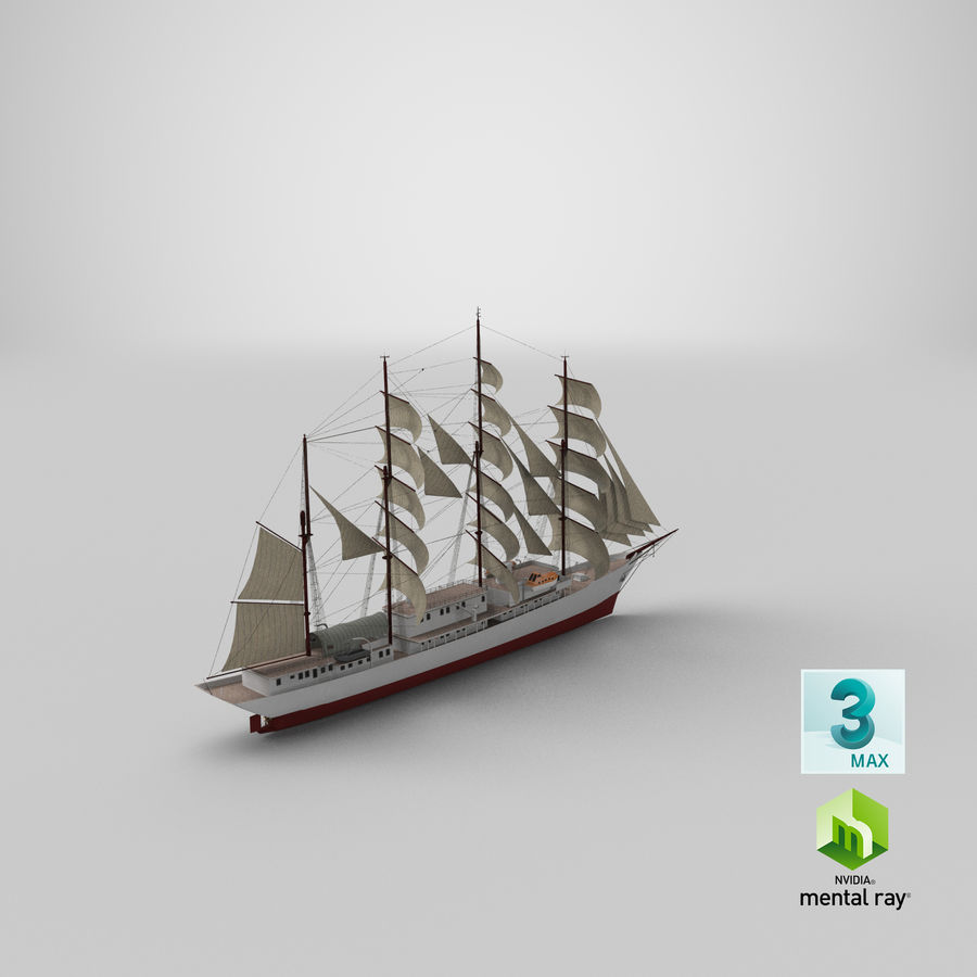 帆船快船 royalty-free 3d model - Preview no. 37