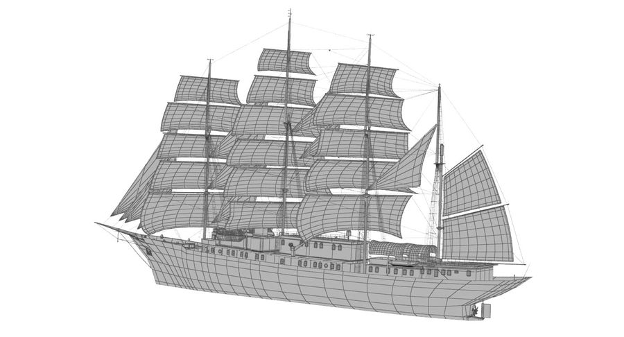 帆船快船 royalty-free 3d model - Preview no. 21