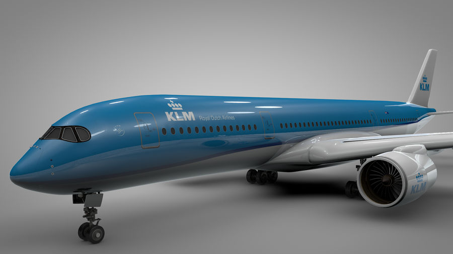 Airbus A350-900_KLM_L223 royalty-free 3d model - Preview no. 6