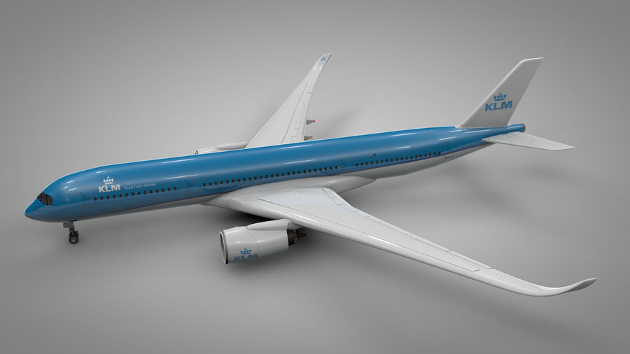 Airbus A350-900_KLM_L223 royalty-free 3d model - Preview no. 3