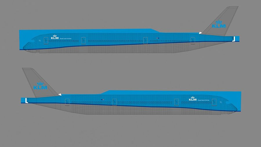 Airbus A350-900_KLM_L223 royalty-free 3d model - Preview no. 8