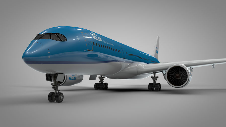 Airbus A350-900_KLM_L223 royalty-free 3d model - Preview no. 5