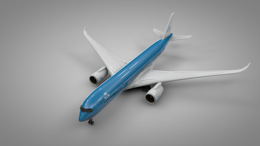 Airbus A350-900_KLM_L223 royalty-free 3d model - Preview no. 2