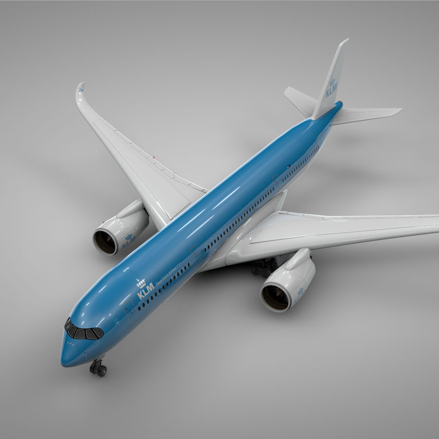Airbus A350-900_KLM_L223 royalty-free 3d model - Preview no. 1