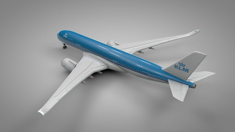 Airbus A350-900_KLM_L223 royalty-free 3d model - Preview no. 7