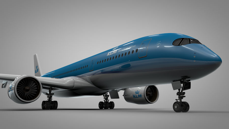 Airbus A350-900_KLM_L223 royalty-free 3d model - Preview no. 4
