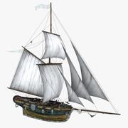Cutter sailing ship 3d model