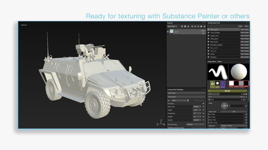 COBRA-2 Tactical Armored Vehicle Untextured royalty-free 3d model - Preview no. 11