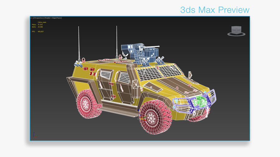 COBRA-2 Tactical Armored Vehicle Untextured royalty-free 3d model - Preview no. 10
