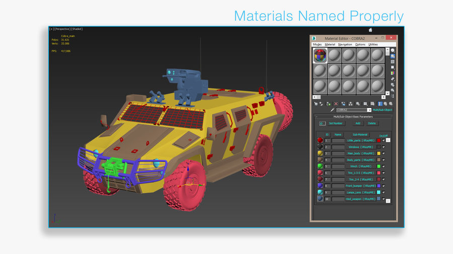 COBRA-2 Tactical Armored Vehicle Untextured royalty-free 3d model - Preview no. 9