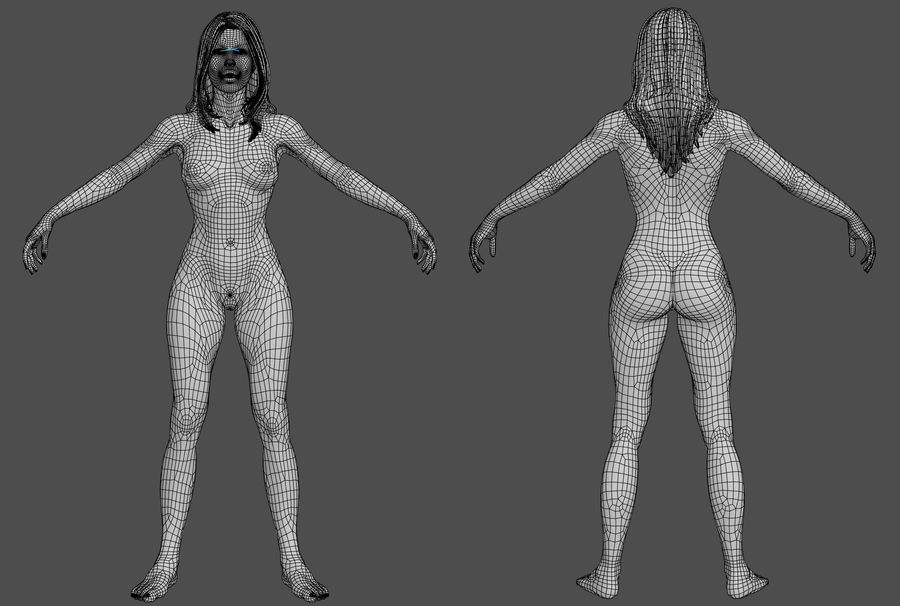 人类女性 royalty-free 3d model - Preview no. 11