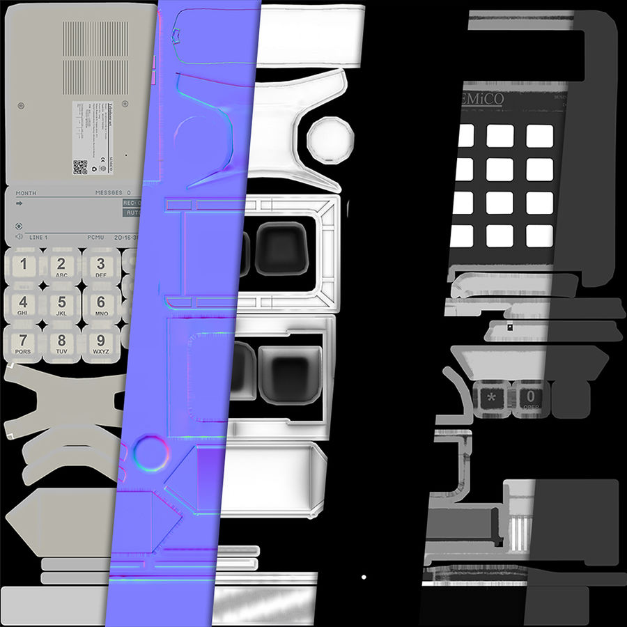 Telefone Comercial royalty-free 3d model - Preview no. 5
