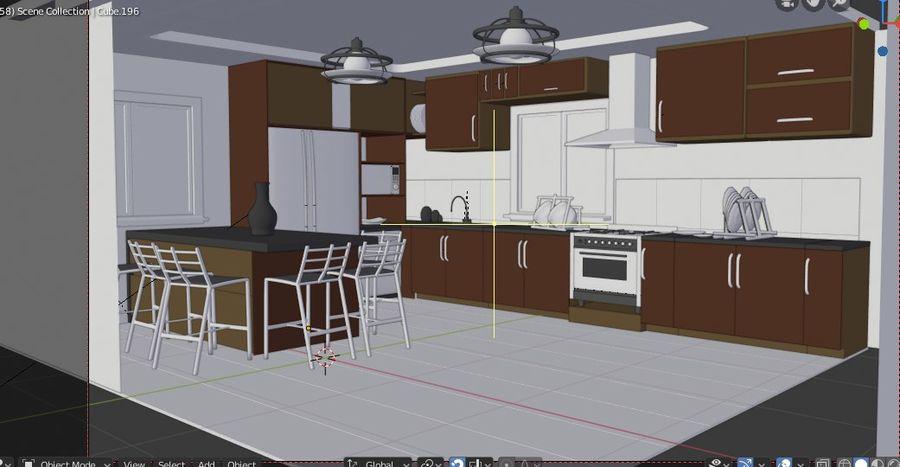 Modernt kök royalty-free 3d model - Preview no. 2