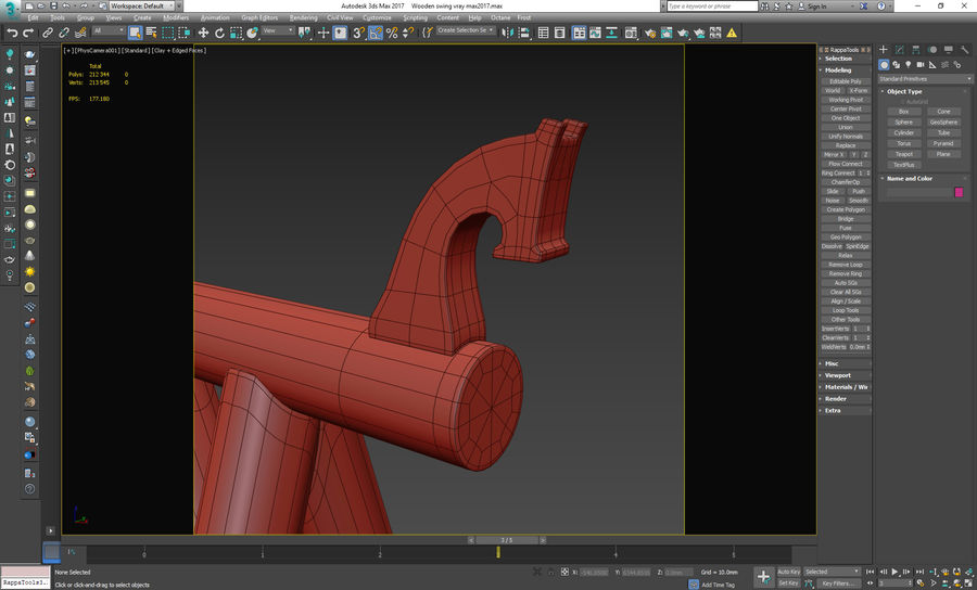 Wooden swing royalty-free 3d model - Preview no. 16