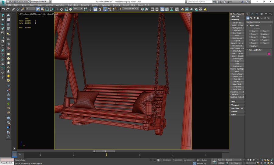 Wooden swing royalty-free 3d model - Preview no. 15