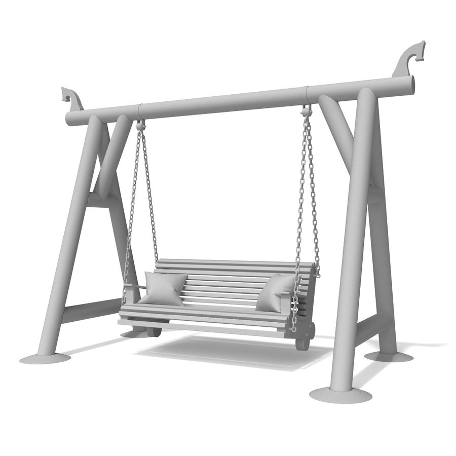 Wooden swing royalty-free 3d model - Preview no. 7