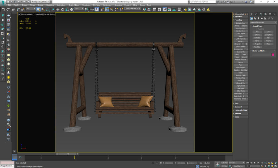 Wooden swing royalty-free 3d model - Preview no. 13