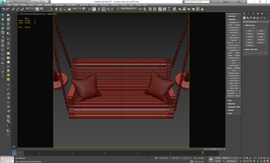Wooden swing royalty-free 3d model - Preview no. 18