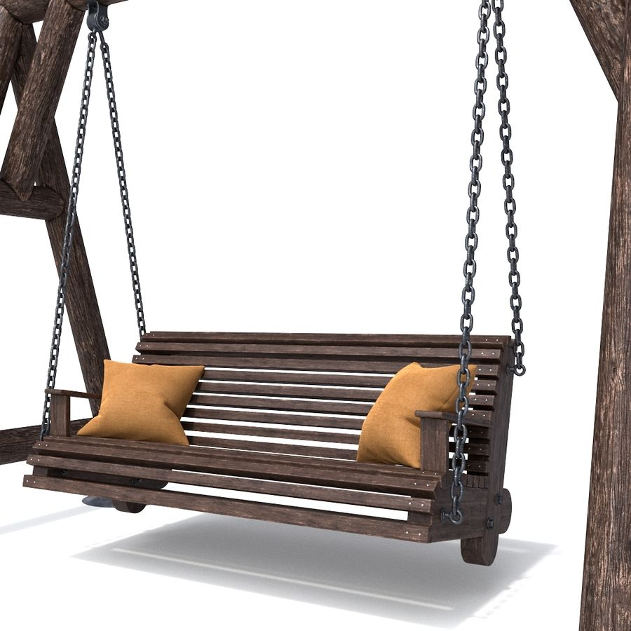 Wooden swing royalty-free 3d model - Preview no. 3