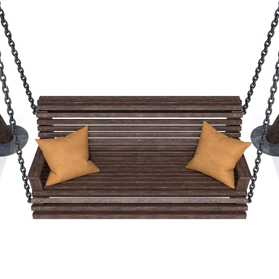 Wooden swing royalty-free 3d model - Preview no. 6