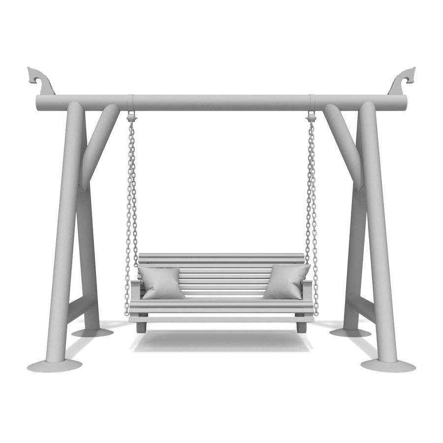 Wooden swing royalty-free 3d model - Preview no. 8