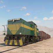 trein en hopper auto 3d model
