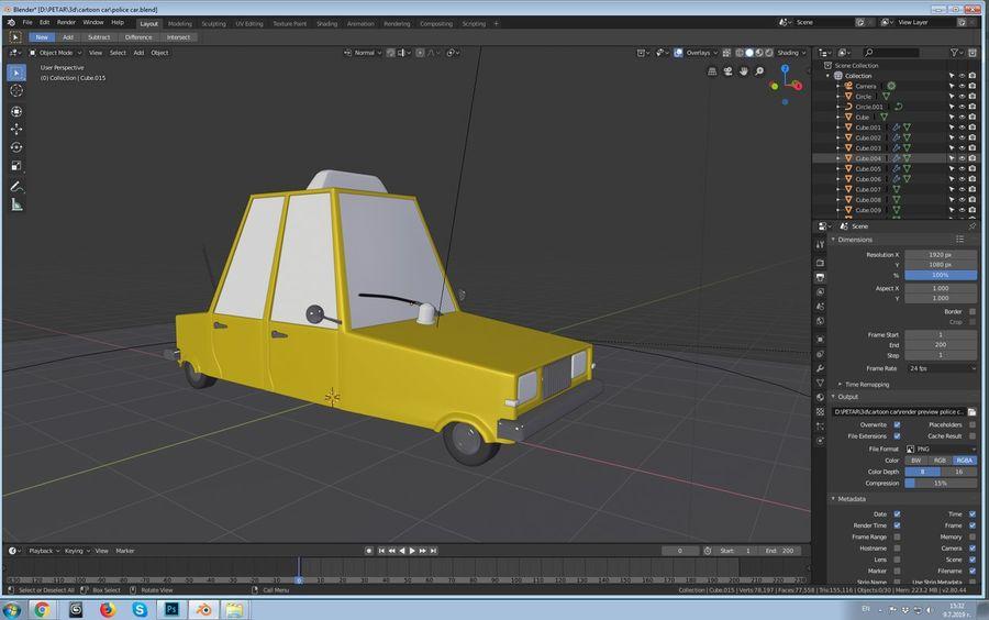 Auto della polizia royalty-free 3d model - Preview no. 4