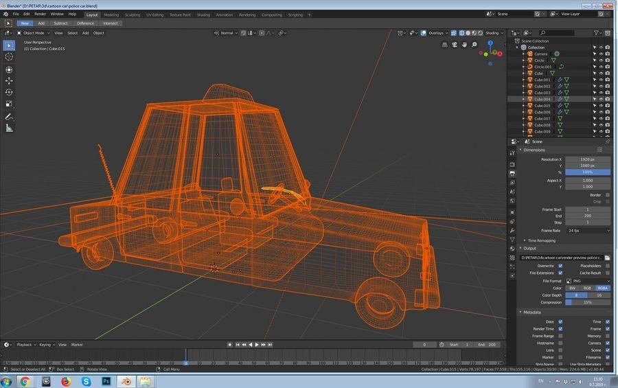 Auto della polizia royalty-free 3d model - Preview no. 2