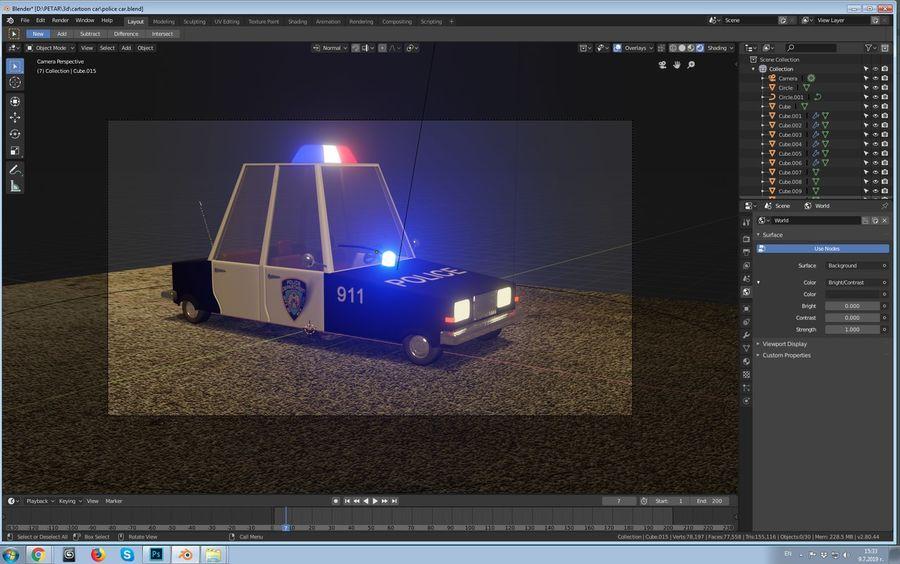 Auto della polizia royalty-free 3d model - Preview no. 6